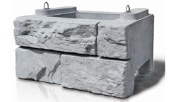 Concrete Retaining Walls, Blocks & Barriers | Train & Transportation Company | Can Ridge Industries Ltd. Can Ridge Industries – Verti-Block, beautiful faux stone finish retaining wall - Standard block, 36 inches deep